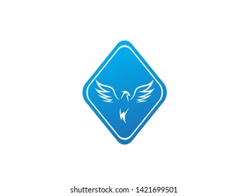Phoenix flying bird and eagle open wings Logo Design illustration in the shape