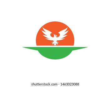 Phoenix shape in the sun for logo design illustration on a white isolated background