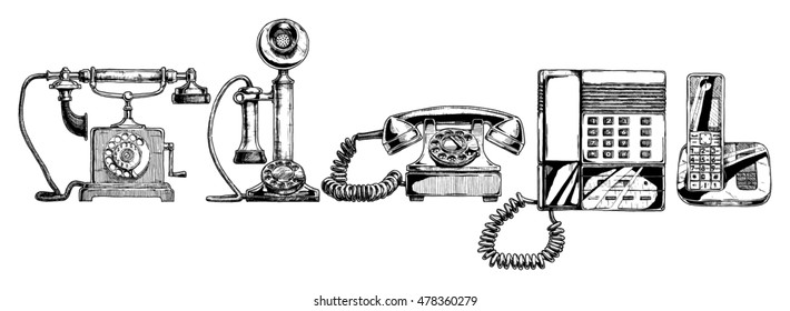 phone evolution set.Typical telephone of XVIII century, candlestick telephone,  rotary dial telephone of 40s, push-button phone with answering machine of 1980s, modern cordless telephone.