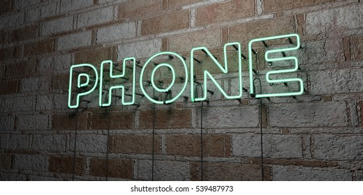 PHONE - Glowing Neon Sign on stonework wall - 3D rendered royalty free stock illustration.  Can be used for online banner ads and direct mailers.