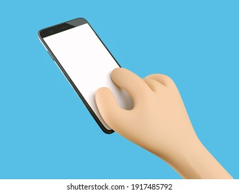 Phone in hand. Blank white screen on the phone. Fingers magnify the screen. Mockup. 3d rendering. 3d illustration. 3d hand