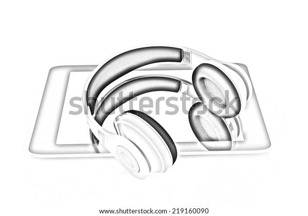 Phone Headphones On White Background Pencil Stock Illustration 219160090