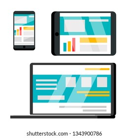 Phone, Laptop, Tablet Web Site Cartoon Illustration