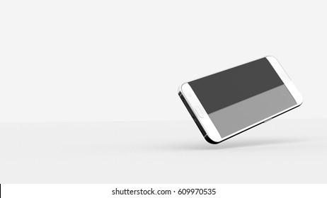 Phone Mock UP In White Studio Environment, Black Screen, Horizontal Screen Position, Right Angle, Levitating, 3D Illustration