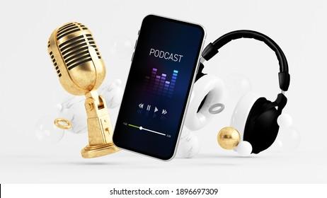 Aplicación de podcast de teléfono rodeada de micrófono y auriculares 3d de representación