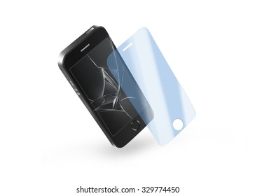 Phone protection glass with broken screen. Smartphone display protector crack. Mock up protected from damage protective film. Safety, clear, insure from scratch. Protect from crash presentation.
