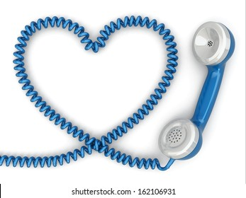 Phone reciever and cord as heart. Love hotline concept. 3d