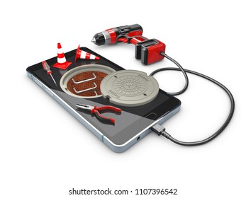Phone repair and service concept, 3d Illustration