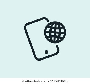 Phone roaming icon line isolated on clean background. Phone roaming icon concept drawing icon line in modern style.  illustration for your web mobile logo app UI design.