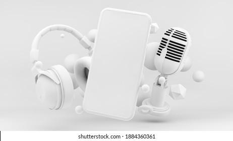 Pantalla de teléfono paro para el concepto de podcast representación 3d