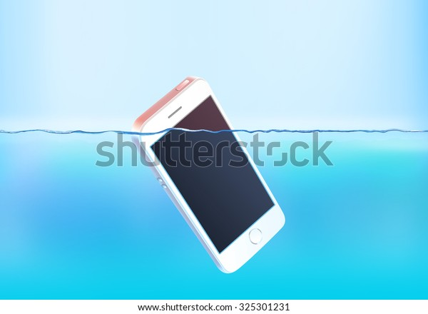 Phone sink in water. Mobile moisture smart phone with touch screen mockup fall drowned, but floats. Electronic smartphone swim and dive. Breakdown accident. Big failure and wreck. Drop, go down crash.