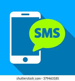Phone SMS long shadow raster icon. Style is a flat light symbol with rounded angles on a blue square background.