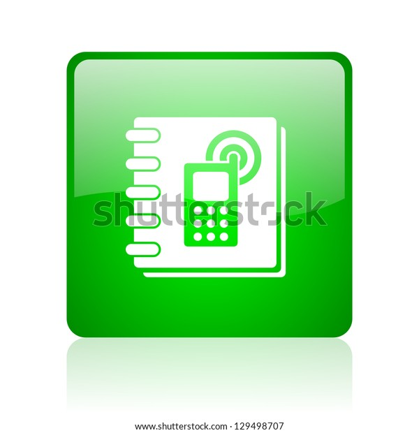 phonebook green square web icon on white background