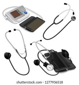 Phonendoscope icon set. Realistic set of phonendoscope icons for web design isolated on white background