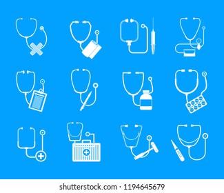Phonendoscope stethoscope icons set. Somple illustration of 12 phonendoscope stethoscope icons for web