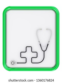 Phonendoscope with the symbol of the cross. The phonendoscope with the symbol of the cross lying on a medical tablet. Isolated. 3D Illustration