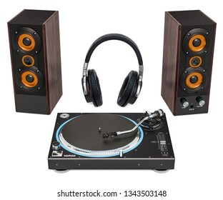 Phonograph turntable, loudspeakers and headphones. 3D rendering isolated on white background