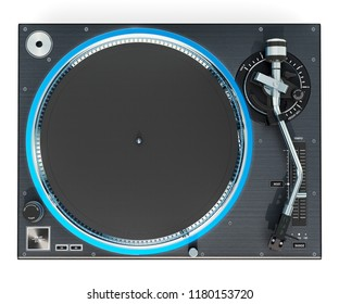 Phonograph Turntable, top view. 3D rendering isolated on white background