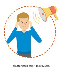 Phonophobia as a symptom of migraine. Stress from loud noisy sound. Noise pollution. Man cover ears.  illustration in cartoon style