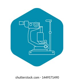 Phoropter, ophthalmic testing device machine icon. Outline illustration of phoropter, ophthalmic testing device machine icon for web