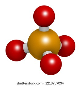 Phosphate anion, chemical structure. 3D rendering. Atoms are represented as spheres with conventional color coding: phosphorus (orange), oxygen (red).
