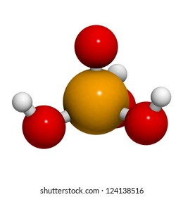 Phosphoric acid (H3PO4) molecule, chemical structure. Phosphoric acid is used  for the acidification of soft drinks and as a buffer component in biological sciences.