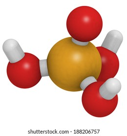 Phosphoric acid (H3PO4) molecule, chemical structure. Used  for the acidification of soft drinks and as a buffer component in biological sciences.