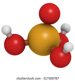 Phosphoric acid mineral acid molecule. Used in fertilizer production, biological buffers, as food additive, etc. Atoms are represented as spheres with conventional color coding.