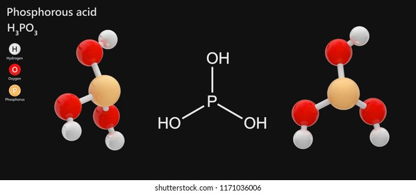 Phosphorous acid is the compound described by the formula H3PO3 or H3O3P. 3d illustration. Isolated on dark background. The molecule is represented in different structures.