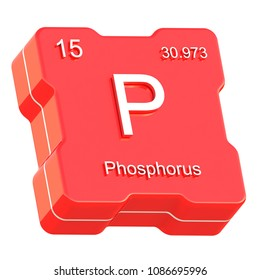 Phosphorus element symbol from periodic table on futuristic red icon isolated on white background 3D render