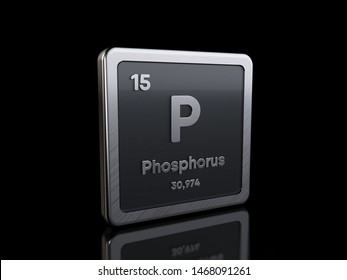 Phosphorus P, element symbol from periodic table series. 3D rendering isolated on black background