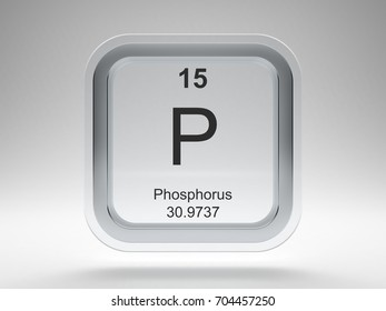 Phosphorus symbol on modern glass and metal rounded square icon 3D render