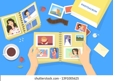 Photo album with family photos. Photography with happy people. Good memory.  illustration in cartoon style.