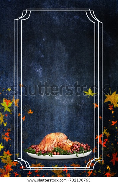 Photo based illustration of a holiday Thanksgiving Day turkey flier background with room for text.