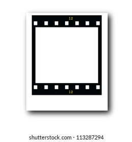 photo with blank film strip frame isolated on white background
