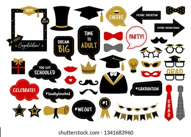 Photo booth props for graduation party. Hat, cap, tie, glasses, diploma for those who graduate from school or college. Photobooth set in gold and black colors. Congrats grad with funny quotes.
