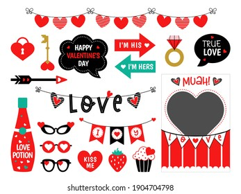 Photo booth props for Valentines Day and wedding party. Candy and kisses booth. Love stickers. Photobooth for selfie. Speech bubbles with text.