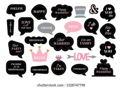 Photo booth props for wedding party. Vector speech bubbles with funny quotes like team bride, just married, I do. Black and pink photobooth: cake, hat, crown, arrow, love. Use for photo, selfie, frame