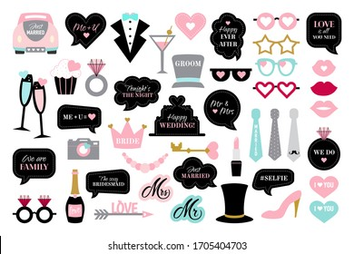 Photo booth props for wedding party. Speech bubbles with text happy wedding, just married, we do. Black and pink photobooth - glasses, hat, crown, car, cake, arrow, lips, champagne.