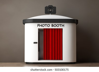 Photo Booth with Red Curtain on a wooden floor. 3d Rendering