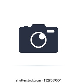 Photo camera icon. Camera icon, flat photocamera isolated. Modern simple snapshot photography sign. Instant Photo internet concept. Trendy symbol for website design, web button.