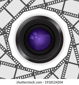 photo camera lens 3d icon in film reel frame