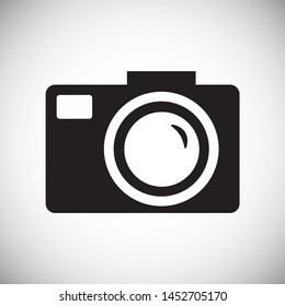 Photo camera related icon background for graphic and web design, Modern simple illustration.