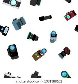 Photo Camera Seamless Pattern . Photocamera Retro Icon. Travel. Cute Graphic Texture. Textile Backdrop. Cartoon Background Illustration