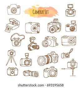 Photo Cameras Hand Drawn Illustrations. Video Camera Design.