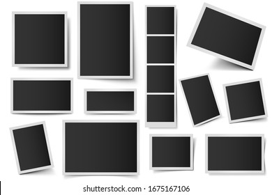 Photo card frames. Rectangular instant photos, square snapshot frame and photo snap with realistic shadow  set. Empty 3d frames collection. Blank borders isolated on white background