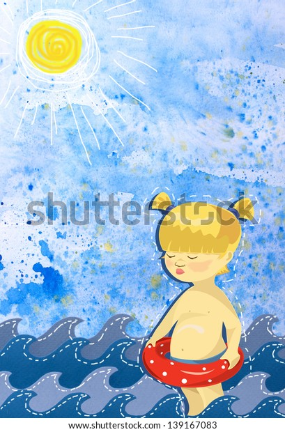 Photo Collage Little Girl Red Swimming Stock Illustration