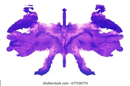 photo colored Rorschach blue inkblot test isolated on white background