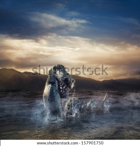 Photo composite of Loch Ness Monster