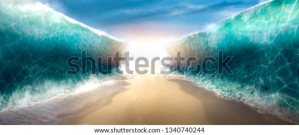 Photo composite of the ocean opening up to form a canal, inspired by the bible event of moses parting the red sea.